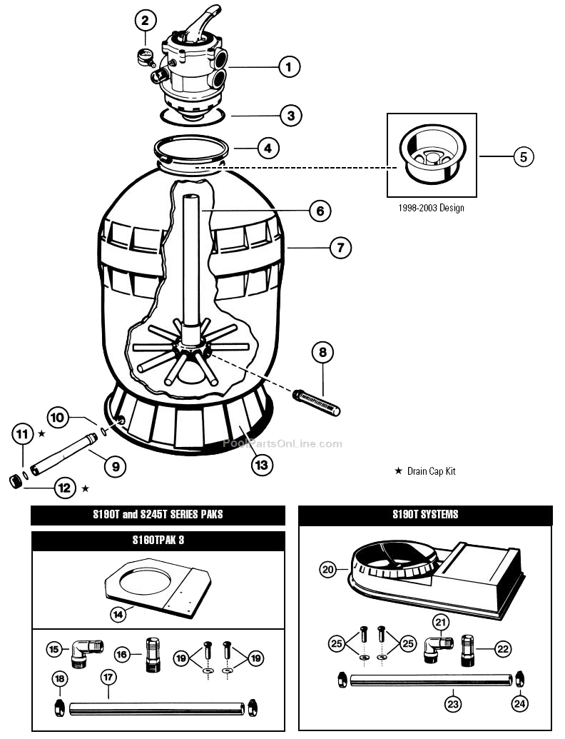 Hayward S245T S190T Diagram hayward sand filter parts  at panicattacktreatment.co